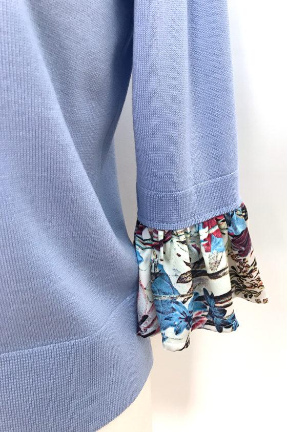 "Плетиво блуза светло синя, ръкави тип ""камбанка"""