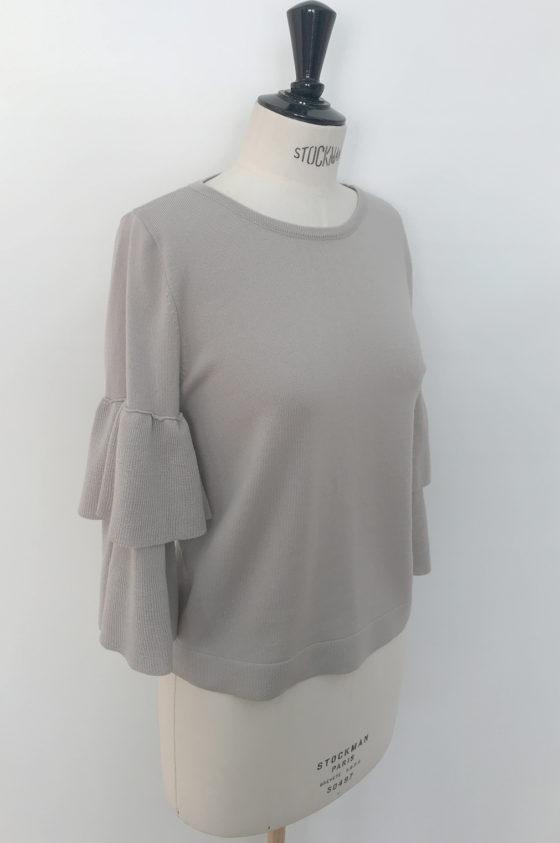 """Плетиво сива блуза с ръкав тип """"камбанка"""""""