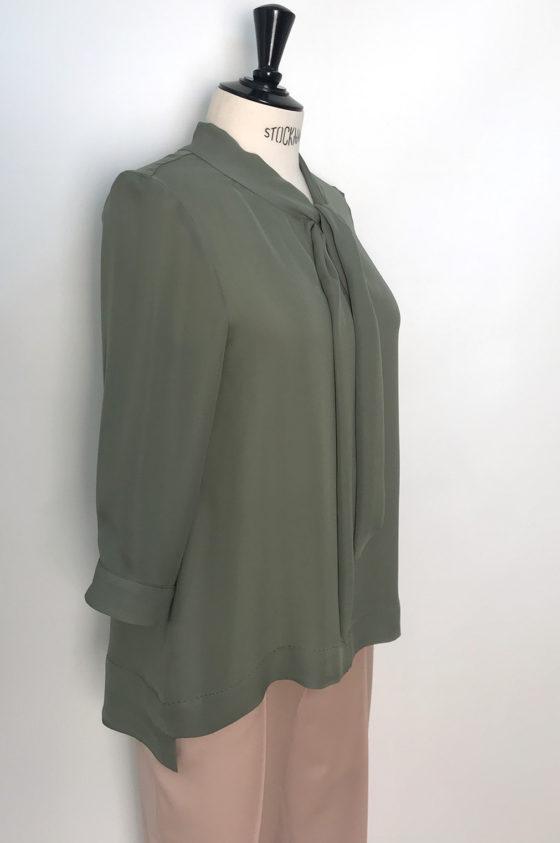 блуза от коприна, маслено зелена