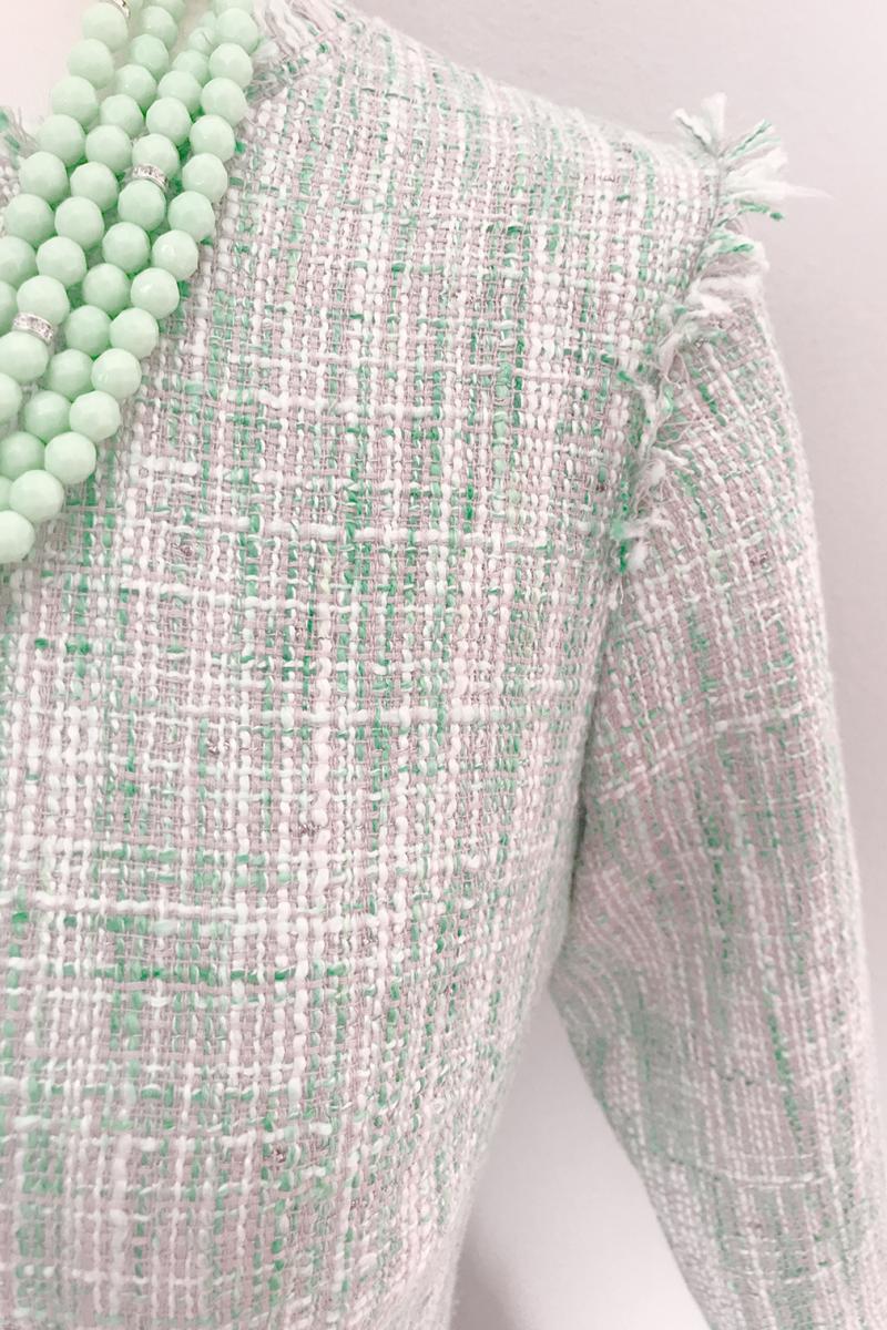 Рокля зелен меланж вталена