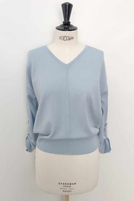 Плетиво блуза, светлосиня, със щрифелка на ръкавите