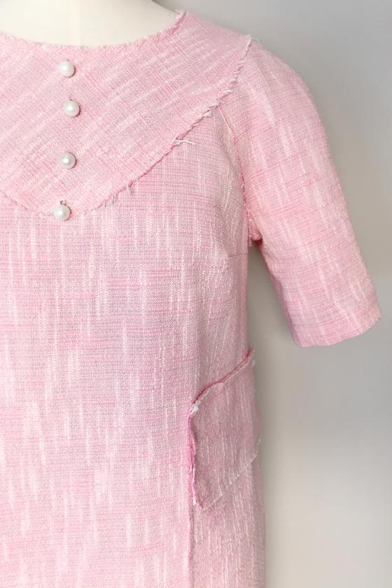 Рокля розова, от памук, с декоративни джобове