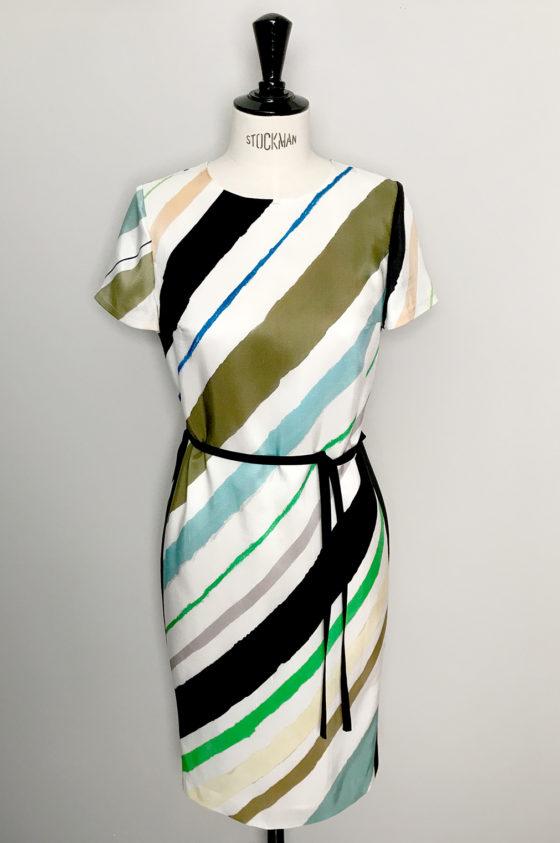 Рокля с многоцветно диагонално райе, от коприна и памук