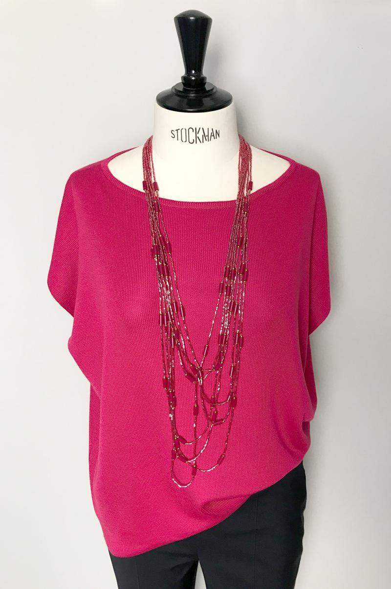 Плетиво блуза цвят фуксия